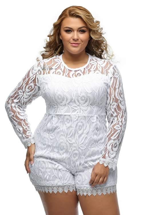 Plus Size Long Sleeve Floral Crochet Lace Romper in White