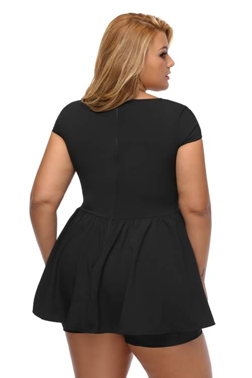 Plus Size V Neck Short Sleeve Back Zipper Peplum Romper in Black