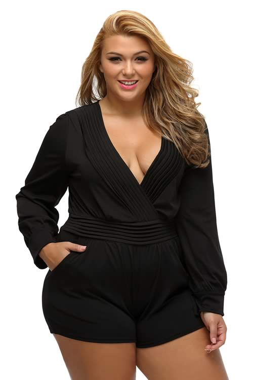 Plus Size Pleated Wrapped Front Long Sleeve Romper in Black