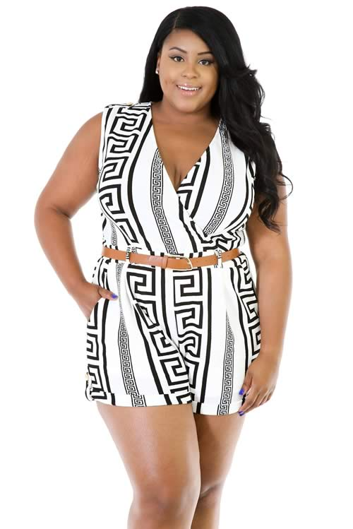 Plus Size V Neck Sleeveless Irregular Striped Romper in White