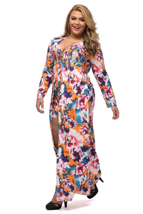 Plus Size Long Sleeve V Neck Floral Romper Maxi Dress