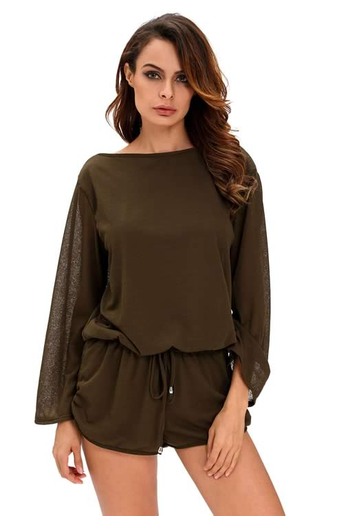 Oversize Bodice Hollow Out Back Long Sleeve Romper Green