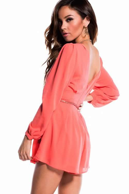 Mini Long Sleeve Romper with Braided Belt in Red