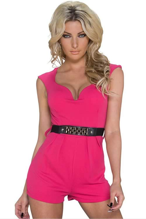 Classy V Neck Sleeveless Romper with Waistband in Pink