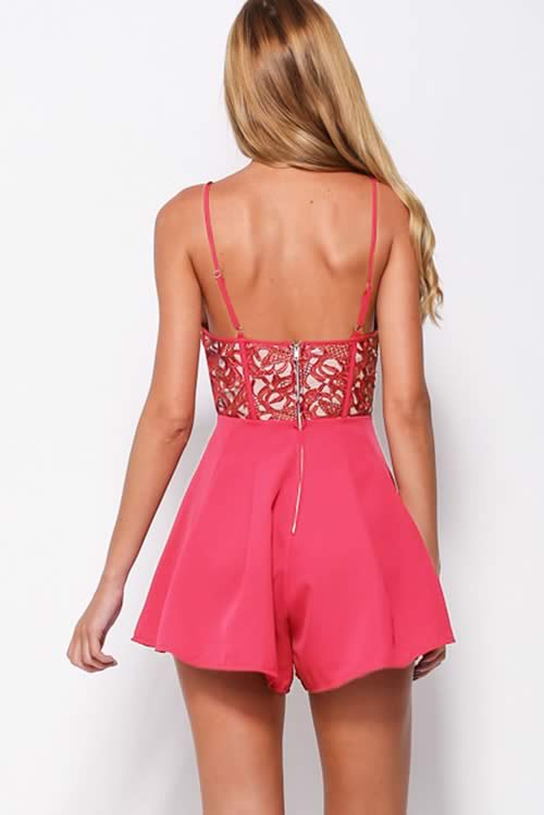 Womens Floral Cut Out Spaghetti Strap Romper in Red