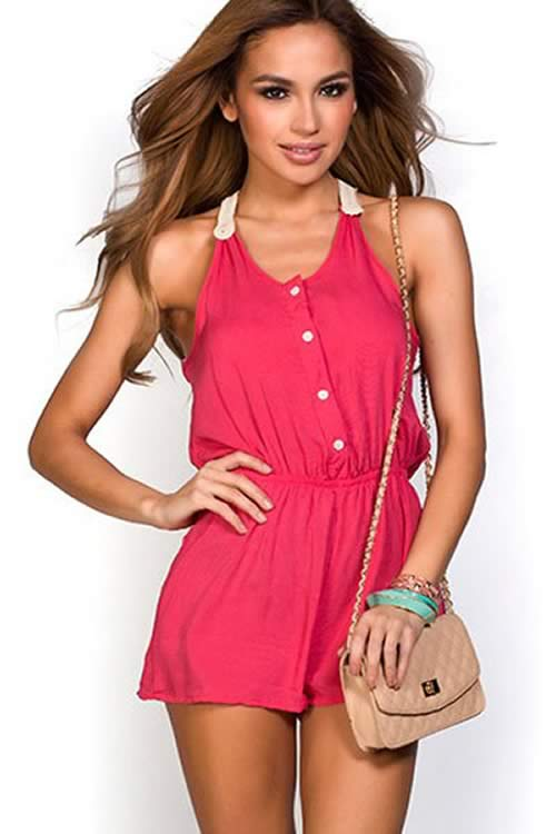 Coral Button Down Crochet T Back Summer Romper in Pink