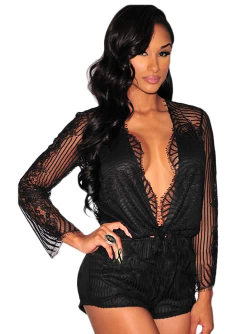 Sheer Lace Long Sleeve Knotted Romper in Black