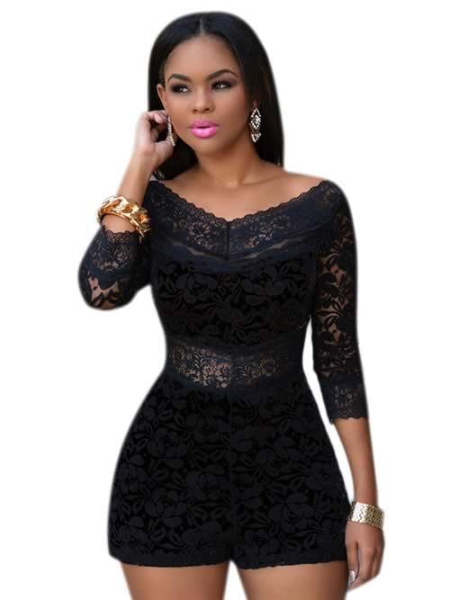 Floral Lace Overlay 3/4 Sleeve Romper in Black