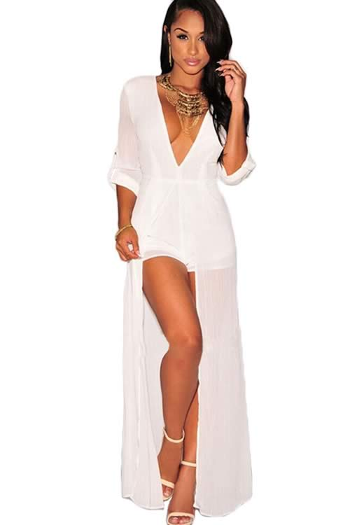V Neck Long Sleeve Chiffon Maxi Romper for Women in White