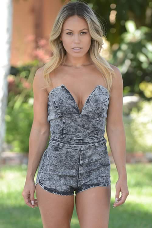 Acid Wash Strapless Denim Romper for Women in Grey