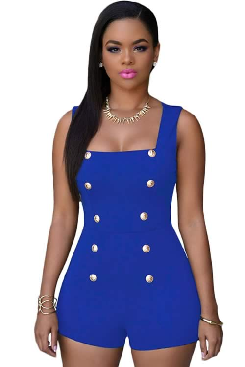 Womens Sleeveless Gold Buttons Romper in Blue