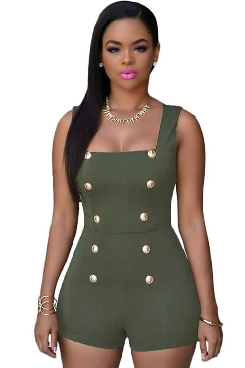 Womens Sleeveless Gold Buttons Romper in Green