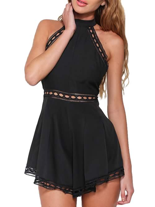 High Neck Sleeveless Wide Leg Romper in Black