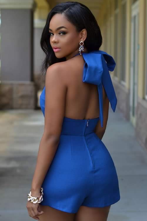 Royal Sleeveless Backless Halter Romper in Blue