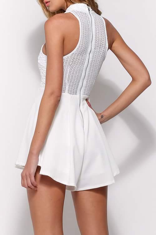 Lace High Neck Mesh back Flared Romper in White