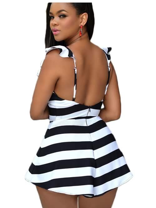 Striped Ruffle Sleeve Backless Romper in Black White