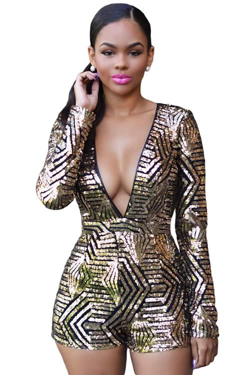 Deep V Neck Long Sleeve Sequin Romper in Black Gold