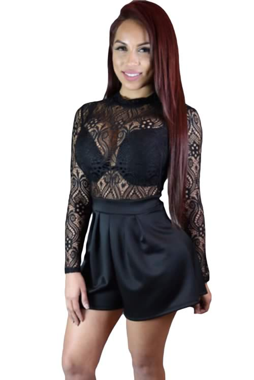 Cut Out Back Sheer Lace Top Little High Waisted Romper in Black