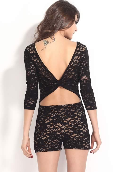Lace 3/4 Sleeve Knotted Key Hole Back Romper in Black
