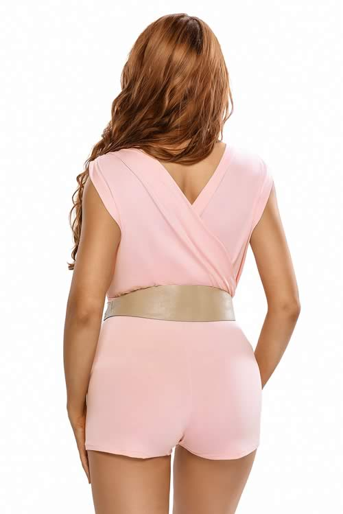 Deep V Neck Ruffle Top Mini Romper Pink with Belt