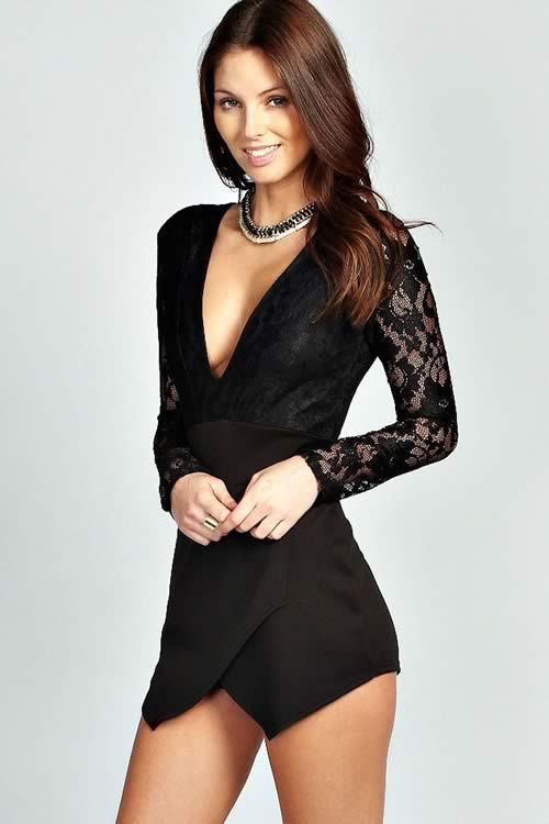 Long Sleeve Lace Plunge Short Romper in Black