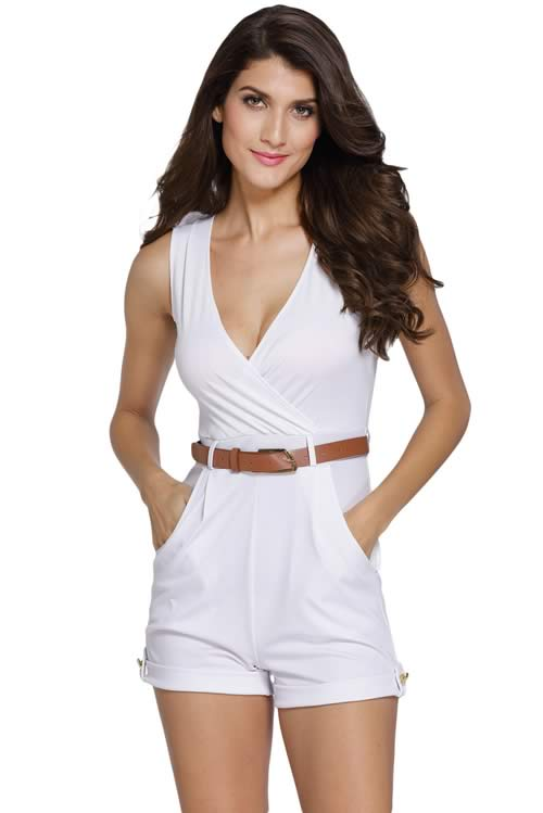 Sleeveless V Neck Belted Summer Romper in White