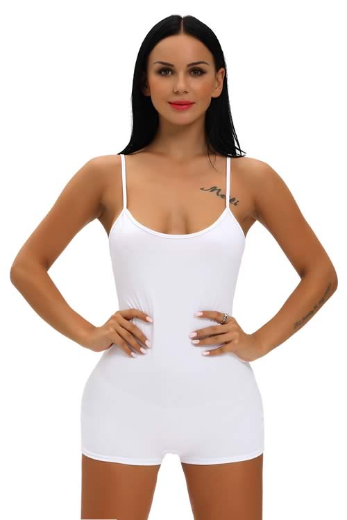 Spaghetti Strap Scoop Neck Tight Romper in White