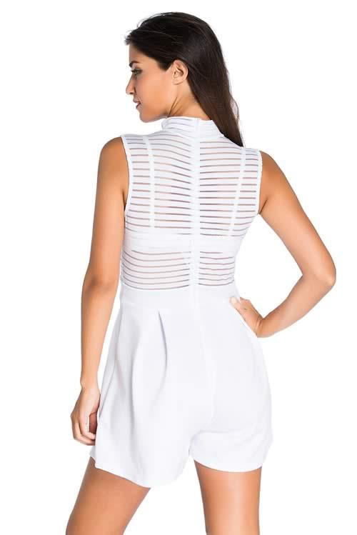 9db0e32a7424 High Neck Sleeveless Sheer Striped Romper in White