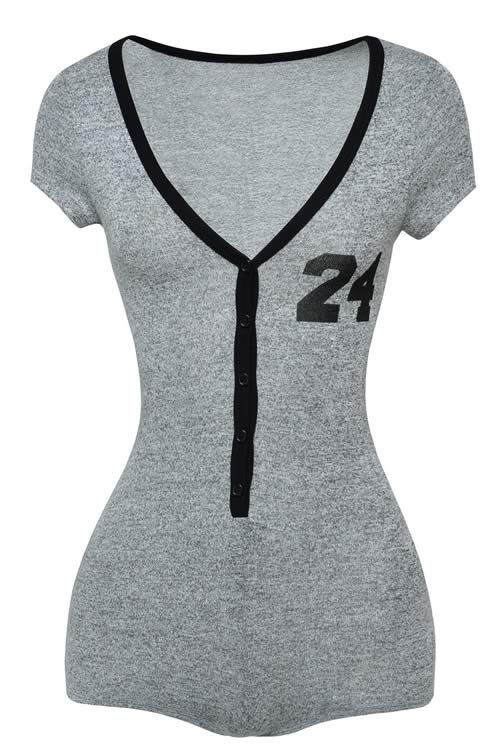 Womens V Neck Flawless Jersey Romper in Grey