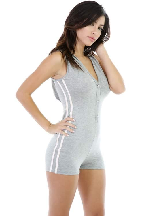 V Neck Button Front Sleeveless Hoodie Romper in Grey