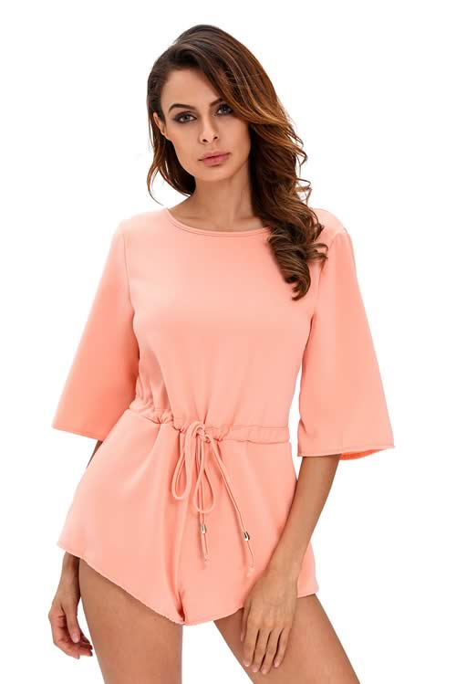 Drawstring Knot Open Back Romper for Women in Pink