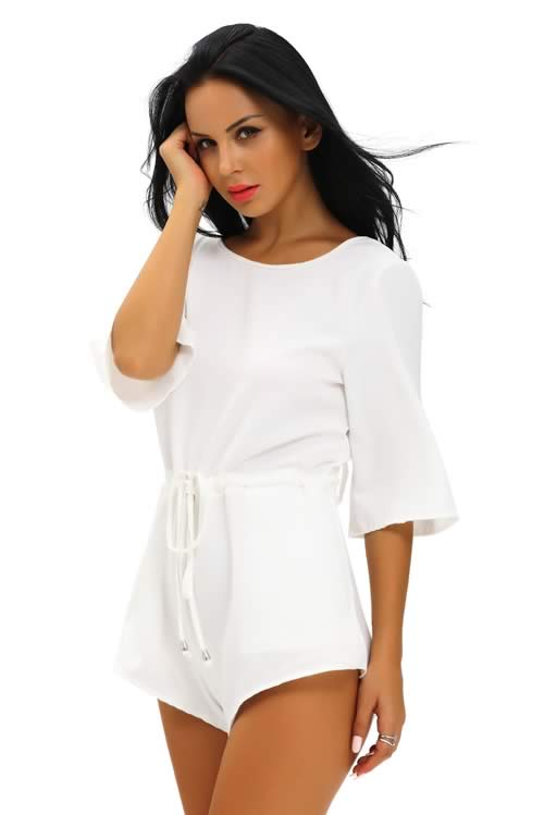 Drawstring Knot Open Back Romper for Women in White
