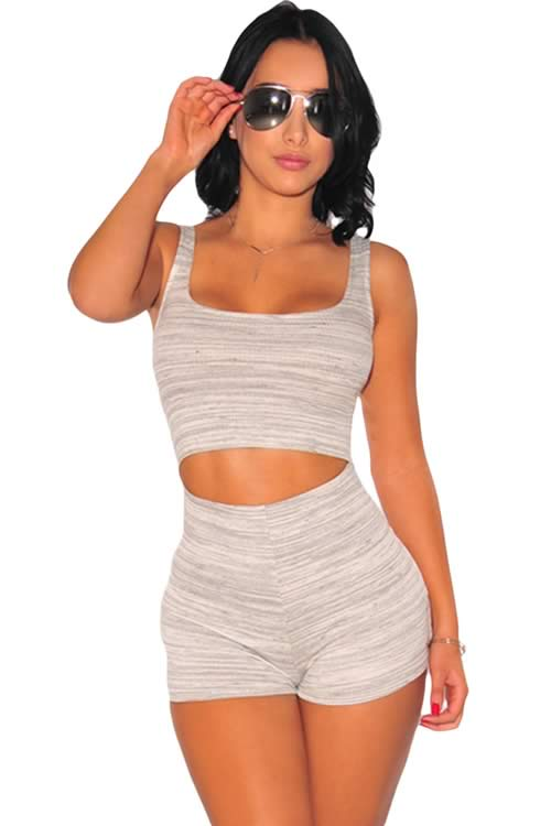 Marled Sleeveless Scoop Neck Cut Out Romper in White Grey