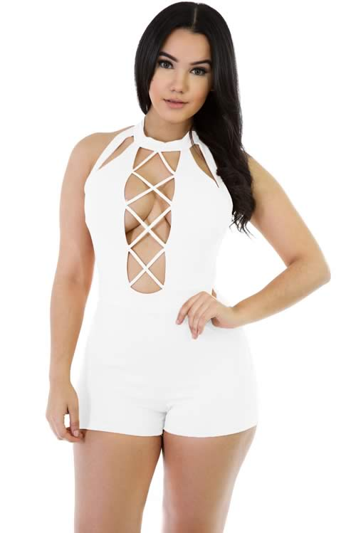 Babydoll Sleeveless Lace up Stretch Romper in White