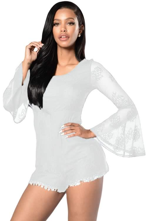 Sheer Bell Sleeves Lace Up Party Romper in White