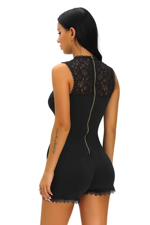 Sleeveless Lace Patchwork Skinny Romper in Black