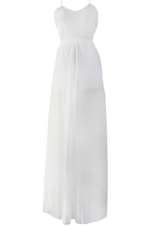 V Neck Wrap Around Back Veil Skirt Romper in White