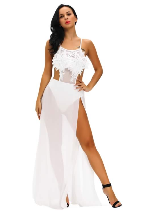Floral Applique Sheer Mesh Top Dress Romper in White