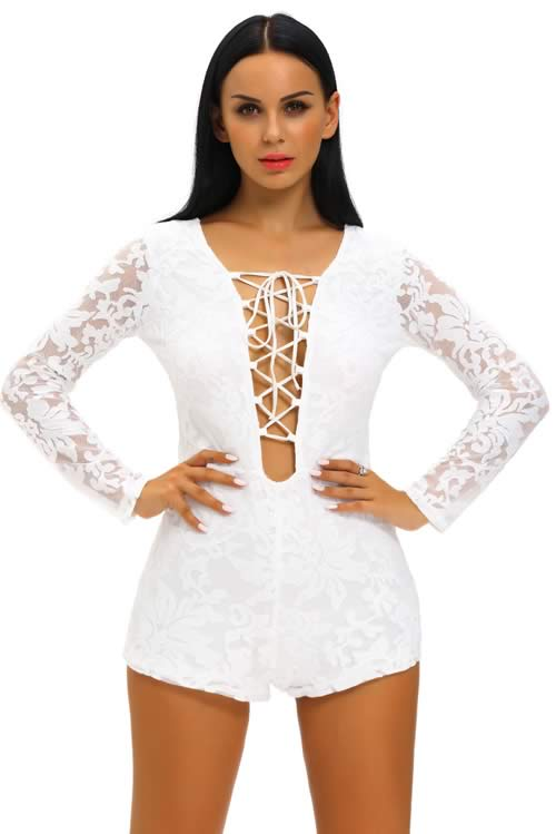 Lace Long Sleeve Lace Up Front Romper in White