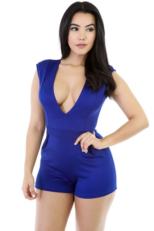 Sleeveless Deep V Neck back Zipper Romper Outfit in Blue