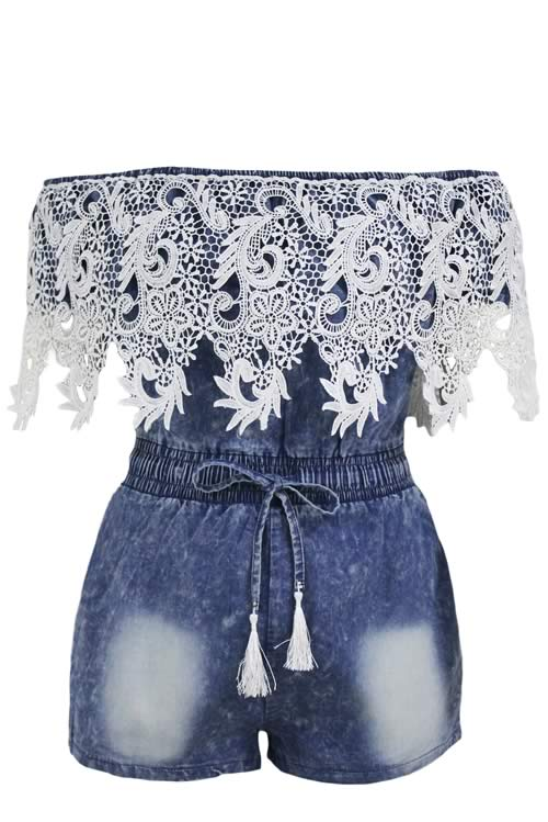 Crochet Lace Trim Off Shoulder Denim Romper in Blue