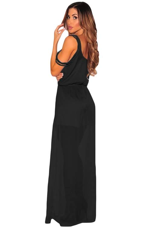 Sleeveless Faux Wrap Maxi Tulle Romper in Black