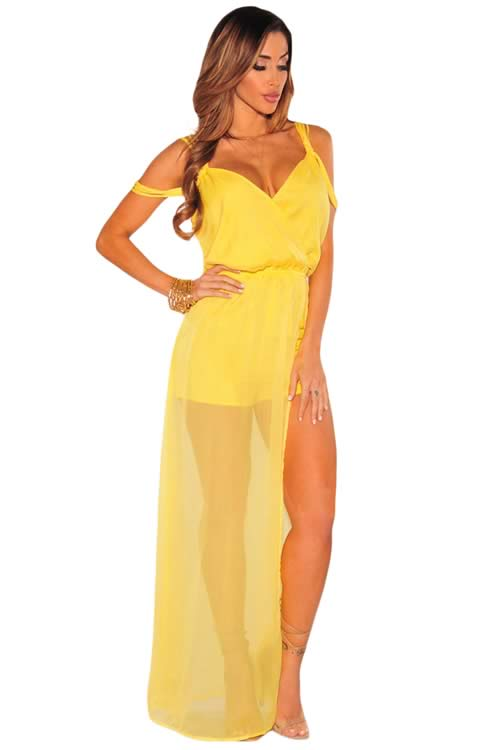 Sleeveless Faux Wrap Maxi Tulle Romper in Yellow