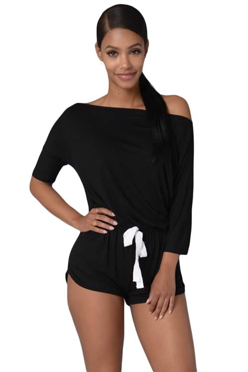 Off Shoulder 3/4 Sleeve Drawstring Casual Romper in Black