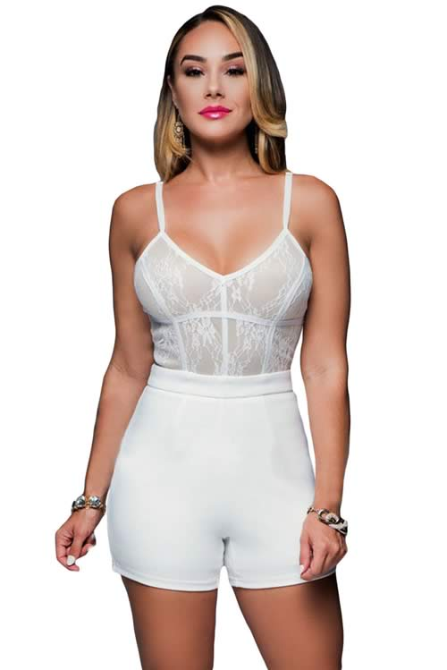 V Neck Lace Trim Slim Fitted Spaghetti Strap Romper in White