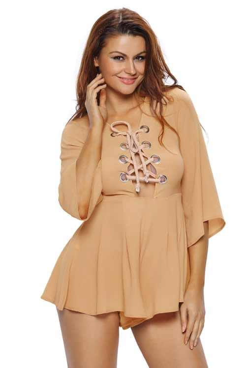 V Neck Lace up Bell Sleeve Romper in Brown