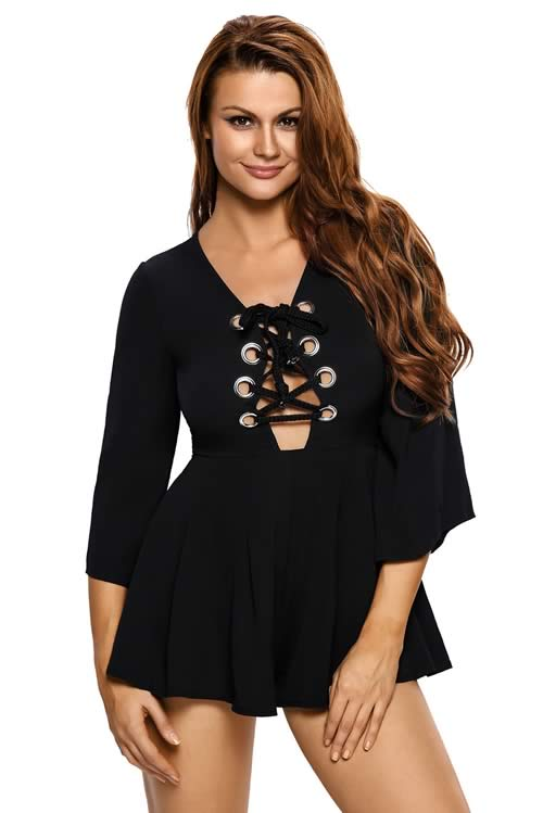 V Neck Lace up Bell Sleeve Romper in Black