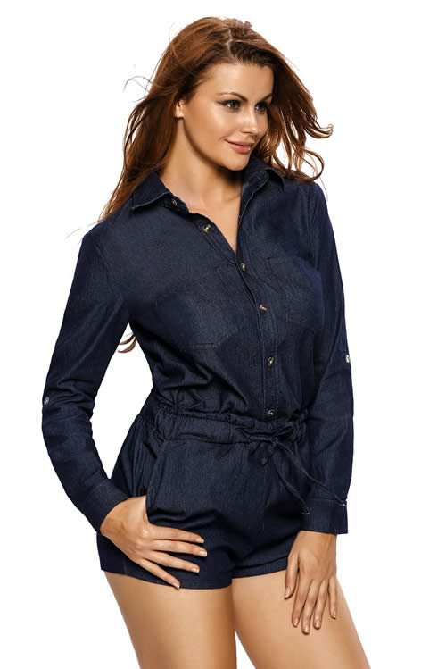 Button front V Neck Denim Casual Romper in Blue