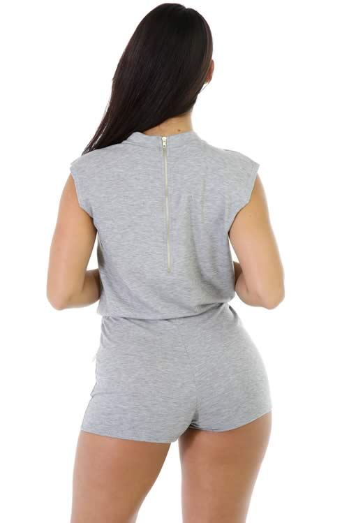 Sleeveless Zipper Drawstring Casual Romper in Grey