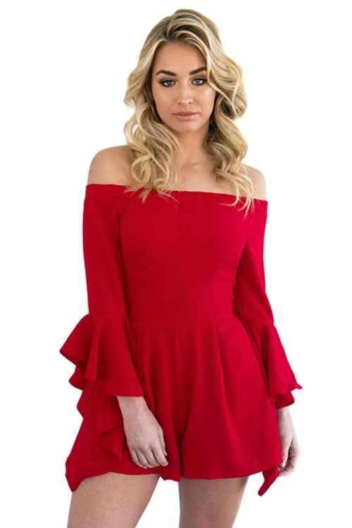 Off Shoulder Ruffle Bell Sleeve Romper in Red